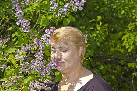 fling: Attractive mature woman smells a lilac flowers in the park Stock Photo