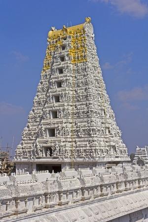 shakti: Gopuram of the Kanakadurga, ot The Golden Durga temple in Vijayawada