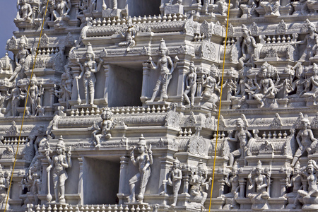 shakti: Detail of Gopuram of the Hindu Kanakadurga, or The Golden Durga temple in Vijayawada