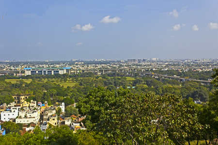 Panoramic view of Chennai city from the top of the Saint Thomas mountain Stock Photo
