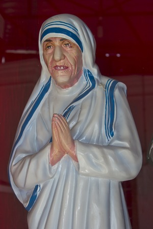 sculpture of the mother Theresa on the top of st Thomas mountain photo
