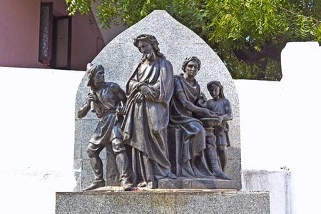 Jesus and Pontius Pilates, sculpture composition on the way to the top of the  st. Thomas mountain photo