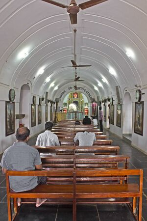 Madras: JAN 29, 2015, CHENNAI, TAMIL NADU, INDIA - Interior of the famous Roman-Catholic Saint Thomas church