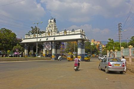 andhra: JAN 31, 2015, TIRUPATI, ANDHRA PRADESH, INDIA - Street scene in the central part of Tirupali Editorial