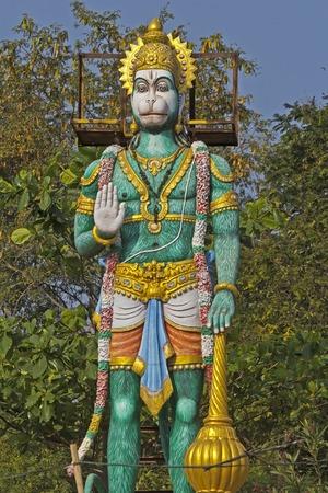 andhra: JAN 31, 2015, TIRUPATI, ANDHRA PRADESH, INDIA - Large sculpture of Hanuman close to the entry to the Tirupati Venkateshwara zoo. Editorial