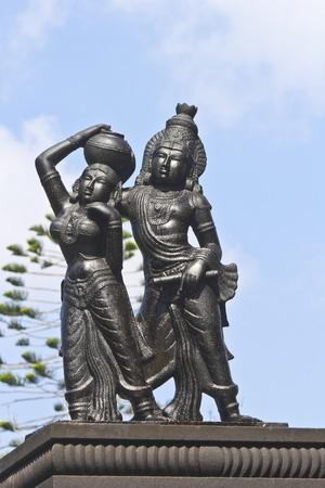 andhra: FEBRUARY 1, 2015, TIRUMALA, ANDHRA PRADESH, INDIA - Sculpture of Radha and Krishna in the Narayanagiri Gardens, Tirumala