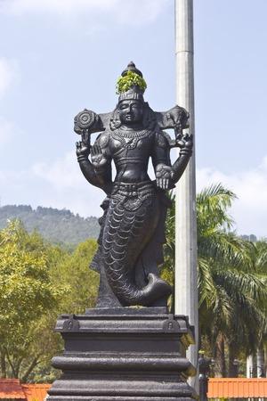 andhra: FEBRUARY 1, 2015, TIRUMALA, ANDHRA PRADESH, INDIA - Sculpture of Matsya Dev in the Narayanagiri Gardens, Tirumala