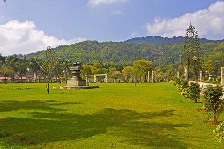 andhra: FEBRUARY 1, 2015, TIRUMALA, ANDHRA PRADESH, INDIA - Narayanagiri (Mountain of Vishnu) Gardens on the top of the sacred mountain Tirumala