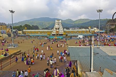 andhra: FEBRUARY 1, 2015, TIRUMALA, ANDHRA PRADESH, INDIA - Famous and ancient temple of Swami Venkateshwar or Balaji on the mountain Tirumala