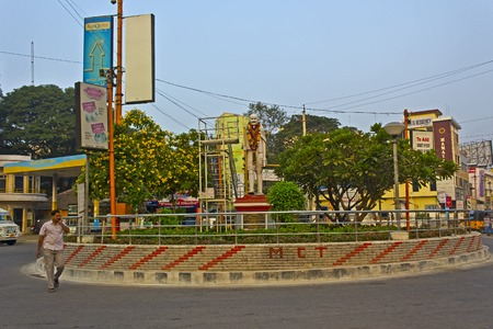 monument in india: FEBRUARY 2, 2015, TIRUPATI, AP, INDIA - Monument of Mahatma Gandhi on the crossroad in the central part of Tirupati