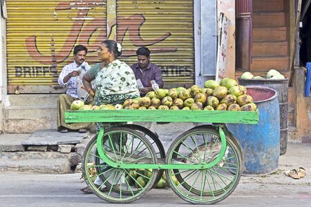FEBRUARY 2, 2015, TIRUPATI, AP, INDIA - Young woman sales a green coconuts on a street of Tirupati