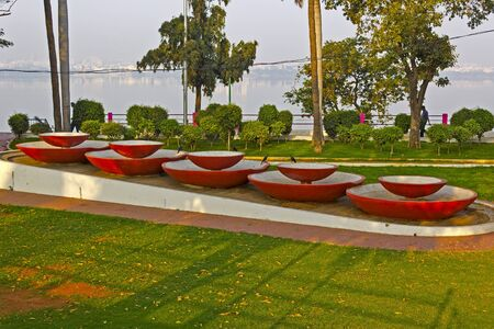 sagar: FEB 3, 2015, HYDERABAD, INDIA - Rotary Park on the bank of the lake Husain Sagar