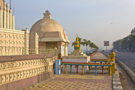hyderabad: FEB 3, 2015, HYDERABAD, INDIA - Temple of the Goddess Yellamma or Renuka on the bank of the lake Hussain Sagar