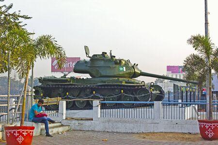 sagar: FEB 3, 2015, HYDERABAD, INDIA - Pakistan tank captured during the Indian-Pakistan war in 1971, on the bank of the lake Hussain Sagar Editorial