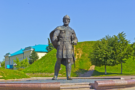 yuri: MARCH 14, 2015, DMITROV, MOSCOW AREA, RUSSIA - Monument of Yuri Dolgorukiy close to Dmitrov kremlin. Velikiy Kniaz Yuri Dolgorukiy (1090-1157) was the founder of Dmitrov and Moscow