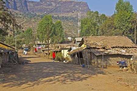 maharashtra: FEB 5, 2015, TRIMBAK, INDIA - Street scene in the village Trimbak, Maharashtra. In this village located the source of sacred river Godavari and famous temple of Lord Shiva Trimbakeshvar
