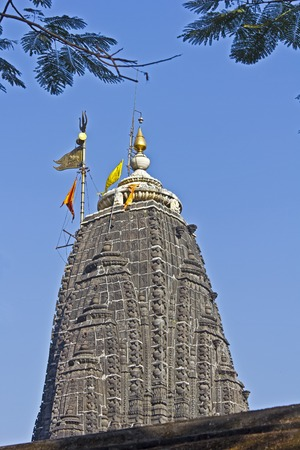 dome of hindu temple: Dome of the temple of Lord Trimbakeshwar (Three-eyed Shiva) in Trimbak. It is one of most important Shiva temples, place of one Jyotirlinga.