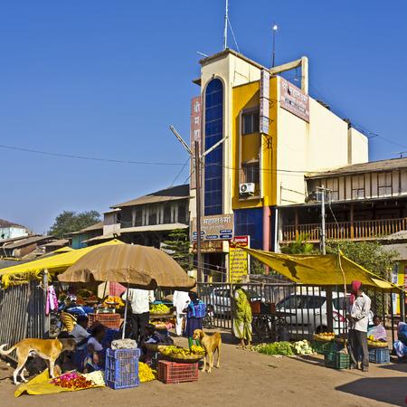 shri: FEB 5, 2015, TRIMBAK, INDIA - Street scene at the hotel Shri Mahalakshmi close to famous Trimbakeshwar temple