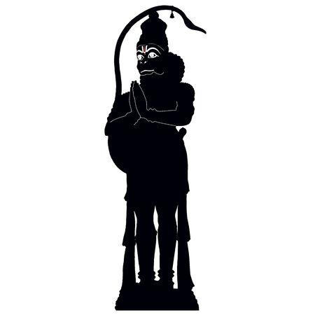 ramayana: Hindu monkey God Hanuman, black vector silhouette