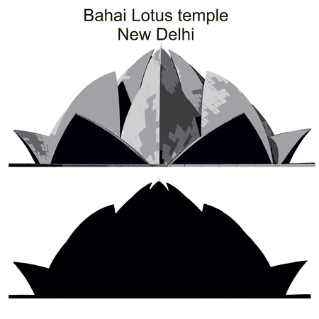 Bahai Lotus temple in New Delhi, black vector silhouette and imitaion of drawing
