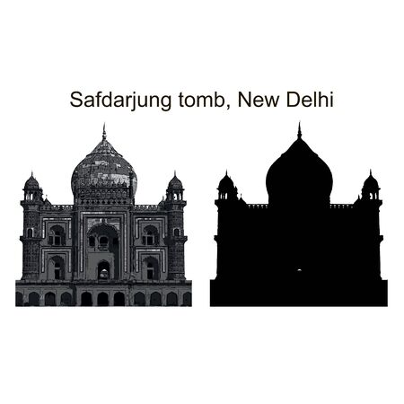tomb: Safdarjung tomb in Nrw Delhi, black vector silhouette and imitation of ink drawing