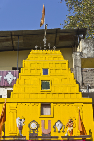 dome of hindu temple: FEB 6, 2015, NASHIK, INDIA -  Detail of Shri Balaji temple at Panchavati area in Nashik
