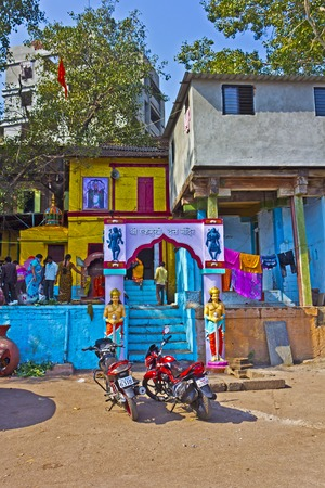 trimurti: FEB 6, 2015, NASHIK, INDIA -  Temple of Ekamukhi (One-faced) Dattatreya at Panchavati area. Dattatrea is the incarnation of Trimurti, Gods Brahma, Vishnu and Shiva