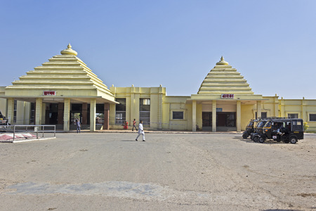 western state: FEB 08, 2015, DWARKA, INDIA - Dwarka railway station. Town Dwarka in western state Gujarat is one of four Dhamas, most sacred places