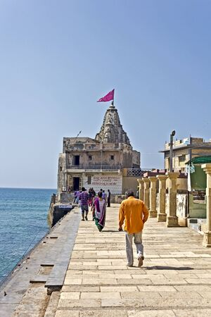 conjunction: FEB 8, 2015, DWARKA, INDIA - Ancient temple Samudra Narayana or Vishnu-on-the-Sea on the point of conjunction of the sacred river Gomati and Arabian sea