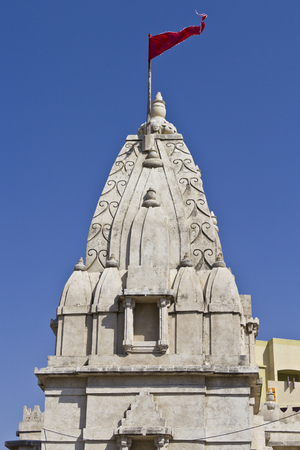 dome of hindu temple: FEB 10, 2015, DWARKA, INDIA - Dome of the small Hindu temple Stock Photo