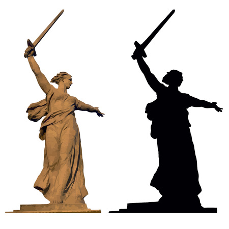 burial: The Motherland calls, black vector silhouette and colour vectorised image of the famous landmarc at the Mamaev burial in Volgograd, dedicated to the Stalingrad battle