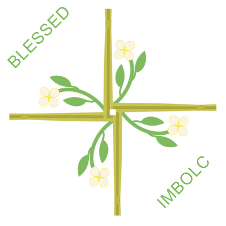 early spring: Greeting card of Imbolc, one of importan Wiccan sabbaths, part of the Wheel of year