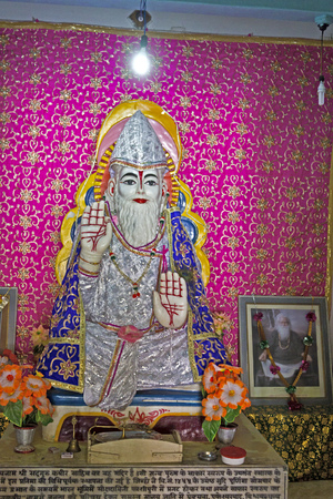 ashram: FEB 11, 2015,  DWARKA, INDIA - Deity of the great saint Kabir in Kabir Ashram Editorial