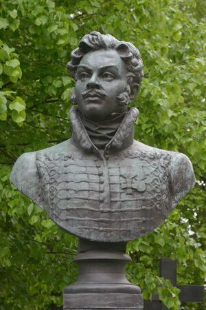hussar: MAY 20, 2009, RUSSIA, MOSCOW - Grove of russian general, hero of the Napoleon war and famous poet Denis Davydov in Novodevichiy monsstery.
