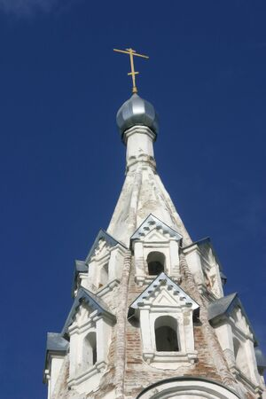 cros: Dome of the bell-tower of the church of the Saviors Transfiguration. Velikiy Ustyug, Vologda area, Russia