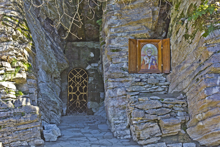 sulphide: FEB 9, 2016, SOCHI, RUSSIA - Cave church of Saint Nicolas close to sulphide source