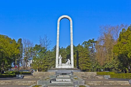behalf: FEB 9, 2016, SOCHI, RUSSIA - Exploit for behalf of the life, monument dedicated to a Sochi military medics