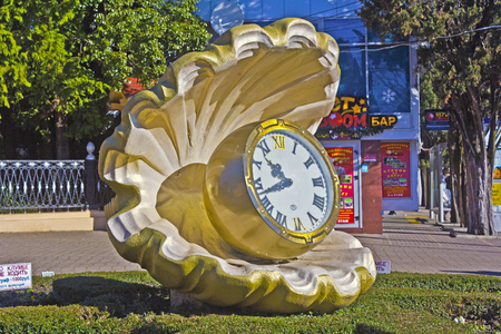 FEB 9, 2016, SOCHI, RUSSIA - Clock in form of a pearl close to entrance of the park Rivera