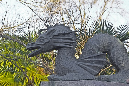 FEB 9, 2016, SOCHI, RUSSIA - Sculpture of dracon in the park of Russian-Japanese friendship