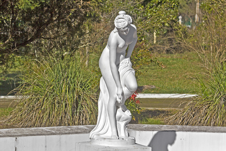 FEB 9, 2016, SOCHI, RUSSIA -  Detail of fountain, sculpture of the bathing goddess Aphrodite, in Matsesta. Matsesta is the important resort, part of the Big Sochi