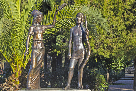 FEB 9, 2016, SOCHI, RUSSIA - Sculpture Athene and Heracles in the central part of Sochi. This sculpture installed in 2007, autor V. Khrisanov