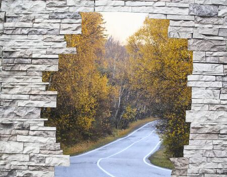 twisting: Twisting road among yellow trees in a window behind