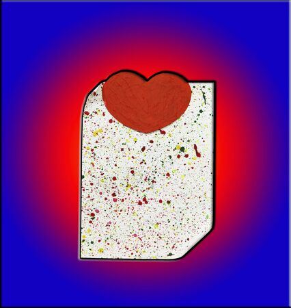 A sheet of paper with a heart on a dark blue background photo