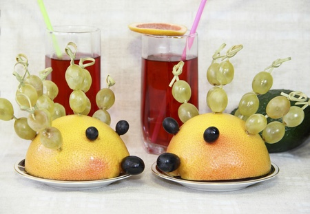 Ridiculous hedgehogs from fruit  photo