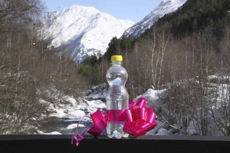 A bottle of pure water with a bow against snow top
