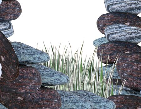 Stones round, smooth and a green grass on a white background