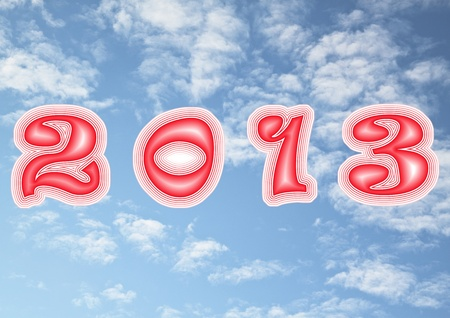 2013 year against the sky and clouds  Stock Photo