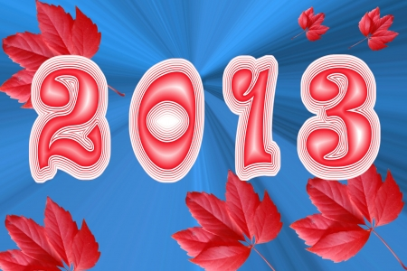 0 1 years: year on a dark blue background with red leaves  Stock Photo