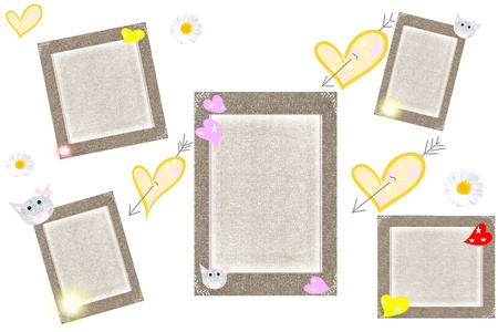Grey frameworks with hearts on a white background