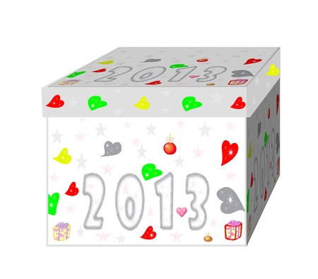 The gift box with 2013 new year on a white background photo